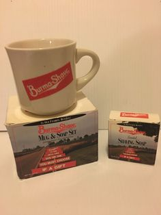 VINTAGE shaving stuff-- BURMA SHAVE soap and mug cup. New In Box NIB