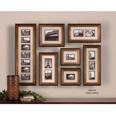 Uttermost 14459 Newark, Photo Collage, S/7: This collection of frames features a heavily antiqued gold finish with a matte black outer edge. Ivory linen mats surround photos. May be hung horizontal or vertical. Holds photo Sizes: 12-4x6, 1-8x10, 4-5x7 Frame Sizes: 15x44, 17x19, 13x29, 2-14x24 & http://keyhomefurnishings.com, Lake Oswego, Oregon.