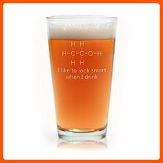 Engraved Chemistry of Alcohol Funny Pint Glass - Fun stuff and gift ideas (*Amazon Partner-Link)