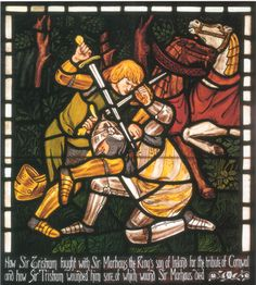 Illustration: Dante Gabriel Rossetti. The Fight Between Sir Tristram and Sir Marhaus, 1862.
