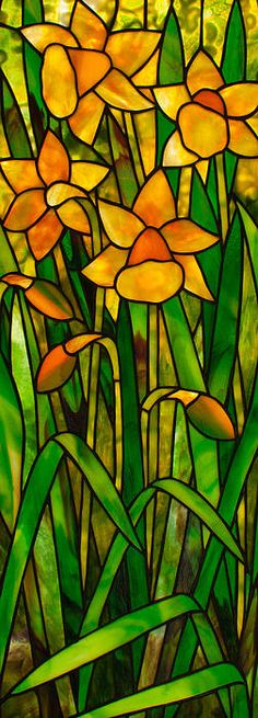 Daffodils by David Kennedy - Daffodils Glass Art - Daffodils Fine Art Prints and Posters for Sale