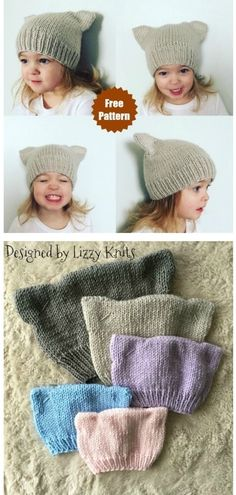 Easy Knitting Projects, Knitting For Kids, Knitting For Beginners, Free Knitting, Free Baby Knitting Patterns, Knitting Ideas, Baby Hats Knitting, Knit Baby Patterns, Doll Patterns