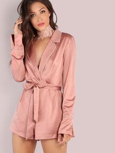 18ed16387d2d Shop Sleeved Piped Lapel Satin Romper ROSE GOLD online. SheIn offers  Sleeved Piped Lapel Satin