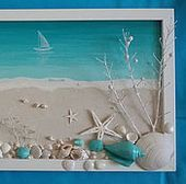 "Buy or order the Marine panel ""I want to visit … Sea Glass Crafts, Sea Crafts, Sea Glass Art, Resin Crafts, Crafts To Make, Beach Canvas, Beach Wall Art, Seashell Art, Seashell Crafts"