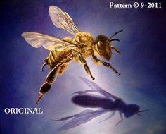 Honeybee & Shadow Cross Stitch Pattern BBXS by BeadedBirdXStitch, $9.99