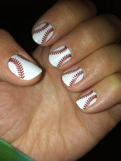 Baseball Jamberry nail wraps. This picture is after 5 days of them being on. (So far) Check them out! Buy 3 get 1 free-NO code needed!!  www.trisha03.jamberrynails.net