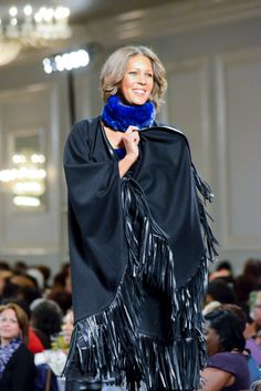 Workin' that leather fringed cape on the runway! #Krugerfurs