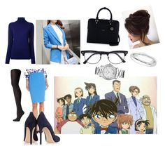 """Detective Conan - Eri Kisaki look"" by chanchalbijarnia ❤ liked on Polyvore featuring CITYSHOP, Falke, Kasper, Gianvito Rossi, Henri Bendel, Ray-Ban and Chopard"