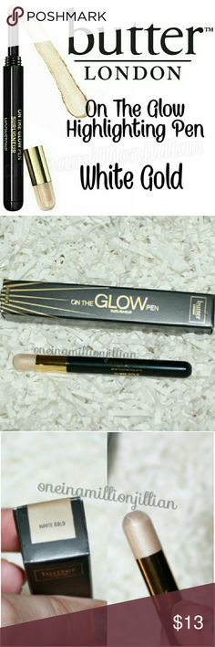 Butter London On the Glow Highlighting Pen New in Box  FullSz & Authentic  Color: White Gold (soft white gold shimmer)  A portable highlighter that enhances your features with a strobe of light. Packaged in a chic on-the-go pen that includes a unique applicator to deliver the perfect dose, ensuring a radiant glow every time.  ☆ Soft shimmer looks natural & not too sparkly  For natural glow apply to bridge of nose for contouring, below the browbone to enhance eyes & at your cupids bow to…