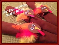 DIY Thanksgiving napkin rings made from paper towel or toilet paper cardboard holders!  Festive, easy to make, and a great way to repurpose those cardboard rolls!