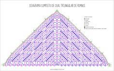 Patrón chal triangular con rombos. Free pattern Crochet Shawl Free, Crochet Shawls And Wraps, Crochet Diagram, Crochet Chart, Crochet Scarves, Crochet Stitches, Shawl Patterns, Crochet Patterns, Poncho Shawl