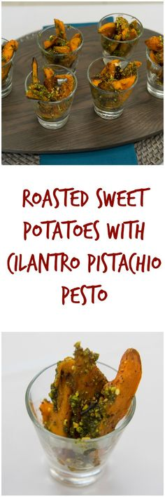 You SO wanna try this roasted sweet potatoes with cilantro pistachio pesto recipe this weekend. Plus, a giveaway!