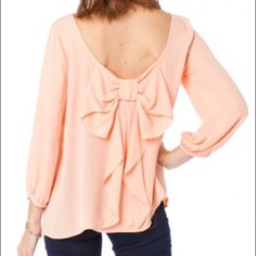 BOW TIED BLOUSE Peach. ADORABLE, southern charm blouse. Boutique shirt. Worn once to presentation in school...a bit snug for me now . Like & share!! Tops Blouses