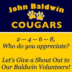 "Our last PTA meeting of the school year is coming up on Wednesday, June 3rd. During the meeting, we'll be thanking our JB volunteers with ""shout outs"" for all of their hard work and contributions through out the year. Do you know a JB volunteer you'd like to give a shout out to? Send email to JohnBaldwinPTA@gmail.com, PM us through FB, post your comment, or drop a note in the office c/o PTA. We ❤️ our JB Volunteers!"