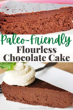 This Paleo Flourless Chocolate Cake recipe makes a rich and fudgy chocolate cake with healthy gluten-free and dairy-free ingredients. This cake is the perfect decadent dessert to satisfy your sweet tooth! via @Ameessavorydish Easy Desserts, Delicious Desserts, Awesome Desserts, Savoury Dishes, Food Dishes, Flourless Chocolate Cakes, Gluten Free Sweets, Homemade Pie, Cupcake Cakes