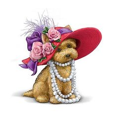 Red Hat w' Roses & Pearl Necklace Puppy Yorkies, Cute Images, Cute Pictures, Web Images, Decoupage, Red Hat Ladies, Wearing Purple, Red Hat Society, Puppy Images