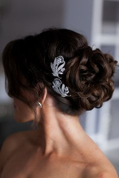 Crystal flower hair pins by One World Designs Bridal Accessories. Hair by Maria Chang - Professional Makeup Artistry