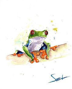 Light up your home, smile, and spirit with this frog painting. This little amphibian is known as the red-eyed tree frog, found in central America. Watercolor Red, Watercolor Animals, Tree Frog Tattoos, Frog Drawing, Red Eyed Tree Frog, Frog Art, Eye Painting, Orange Art, Tree Wall Art