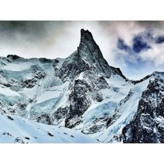 """""""The Dent du Geant (4013m) Chamonix, France. Finally had the opportunity to see this beauty in person this winter. What an awe inspiring chunk of rock, ice and snow."""" Arc'teryx athlete Austin Ross reflects back on skiing in Chamonix for the first time and seeing this beauty of a peak."""