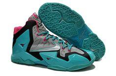 online retailer adfb3 cc4a6 Nike Lebron XI Blue Grey Pink Basketball Shoes Nike Shox, Discount Nikes,  Pink Basketball