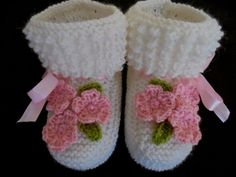 New Handmade Knitted Baby Girls Flowery White Booties Socks Merino Wool US 3 #Handmade #Booties #baby #socks #shoes #christening #baptism #wool #merinowool #toddler