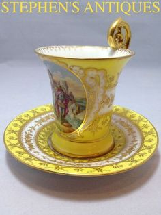 Dresden Yellow and Gold Teacup and Saucer with Cameo on Cup Dresden China, Yellow Tea Cups, Dresden Porcelain, Antique Tea Cups, Teapots And Cups, Tea Art, China Tea Cups, Tea Service, How To Make Tea