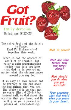 Fruit of the Spirit lesson on peace and worry. Great for sunday school or home family devotions