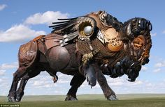 Artist John Lopez welds the pieces from abandoned farm machinery. Based in the town of Lemmon, South Dakota
