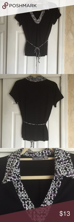 Apt. 9 belted v- neck top Apt. 9 black stretch v-neck top with multi colored collar and matching belt. Size large 96% polyester 4% spandex Apt. 9 Tops Blouses