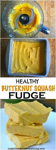 Healthy Butternut Squash Fudge - only three ingredients. Paleo Dessert, Vegan Desserts, Healthy Desserts, Dessert Recipes, Fall Recipes, Vegan Recipes, Cooking Recipes, Paleo Vegan, Vegetarian