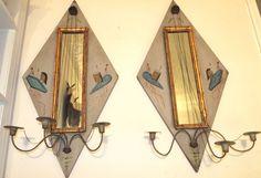 "Vintage Pair Italian large Wooden mirror Sconces Hollywood Regency 35"" fine #ItalianRegency"