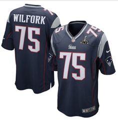 Men's NFL New England Patriots #75 Vince Wilfork Navy Blue Super Bowl XLIX Bound Game Jersey