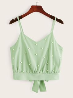 To find out about the Beaded Split Tie Back Cami Top at SHEIN, part of our latest Tank Tops & Camis ready to shop online today! Cropped Cami, Cami Crop Top, Cami Tops, Fashion News, Fashion Outfits, Boho Fashion, Young Models, Tie Backs, Pants For Women
