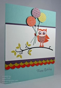 CC395 owl birthday wish by juliestamps - Cards and Paper Crafts at Splitcoaststampers