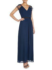 Cap Sleeve Lace Contrast Band Maxi Dress