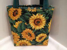 Sunflowers Autumn Fall Fabric Harvest Bag- Gift, Tote #HugsandHolidays on Etsy. $10.00