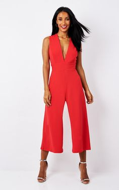 Red Deep V Culotte Jumpsuit