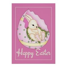 Easter Bunny in Easter Egg pink wall art poster