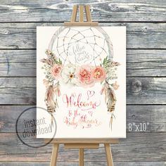 Baby shower welcome sign. 8x10. Original artwork. Instant download. Designed to match Baby Shower dream catcher invitation bohemian style: