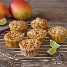 Super moist Paleo Mango Muffins with Coconut-Lime Streusel recipe - Made with coconut flour and fresh mangoes (gluten/grain/dairy/nut/sugar-free). Hawaiian