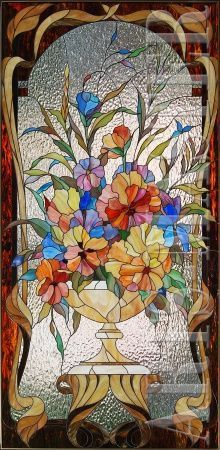colourful stained glass window, flowers in vase. Stained Glass Flowers, Stained Glass Crafts, Stained Glass Designs, Stained Glass Panels, Stained Glass Patterns, Leaded Glass, Glass Door, Mosaic Art, Mosaic Glass