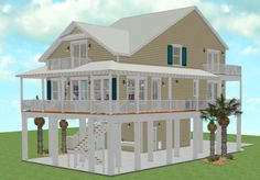 """Maggie's Big Sister is the """"sister"""" plan to Maggies Cove. Both designs feature elevated foundations perfect for living at the beach. An open … Beach House Floor Plans, Coastal House Plans, Coastal Homes, Beach Homes, Coastal Bedrooms, Coastal Decor, Stilt House Plans, House On Stilts, House Roof"""