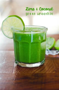 Lime and Coconut Green Smoothie made from  coconut water, coconut milk, line juice & spinach