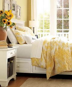 Color Scheme: yellow and white bedroom  just decorated my bedroom like this  so bright and cheery!