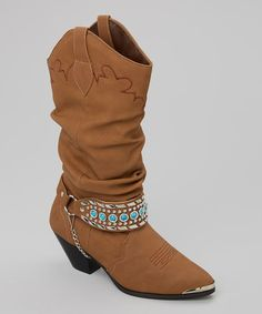 Look what I found on #zulily! Tan Carmen Slouch Cowboy Boot - Women by Smoky Mountain Boots #zulilyfinds