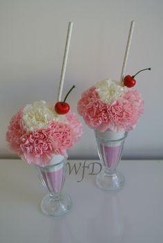 Ice cream sundae flowers, made from Carnations.