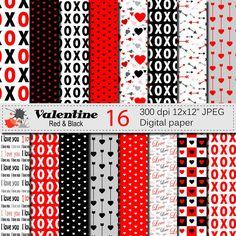 Valentine Digital Paper Set Valentine Instant by VRDigitalDesign