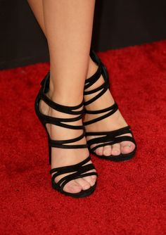 Grammy Awards heels — Sarah Hyland's strappy black sandals