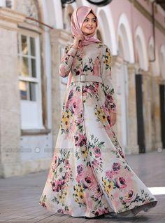 Çiçekli Perçem Elbise - Krem - Pınar Şems
