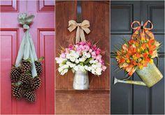 12 enfeites de porta para usar o ano todo Front Door Decor, Ladder Decor, New Homes, Wreaths, Fall, Diy, Home Decor, Nova, Windows